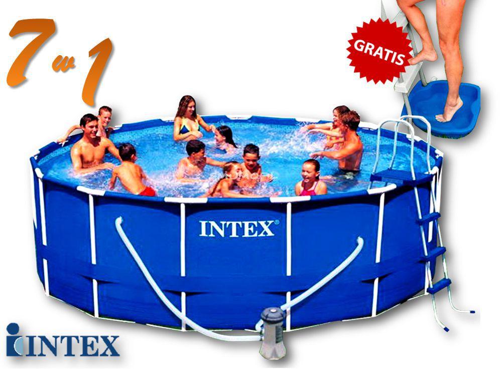 Zestaw Premium | Basen ogrodowy Intex stelażowy 457x122 | 7 w 1 | 54946/28236